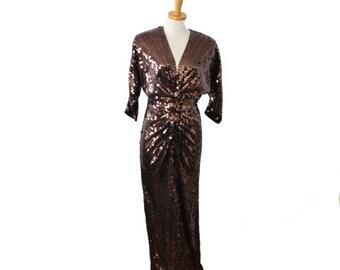 50% half off sale // Vintage 80s Brown Sequin Evening Gown Dress - Women Small, Sz 4 - Oleg Cassini