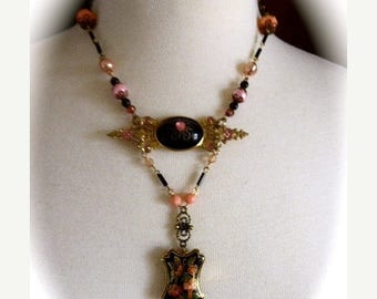 HUGE SALE Neo-Victorian Choker Style OOAK Pendant Necklace with Repurposed Brooch, Black Cloisonné Pendant and Hand Made Chain in Peach and