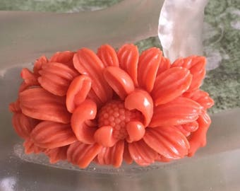 1930's Coral Celluloid Floral Brooch