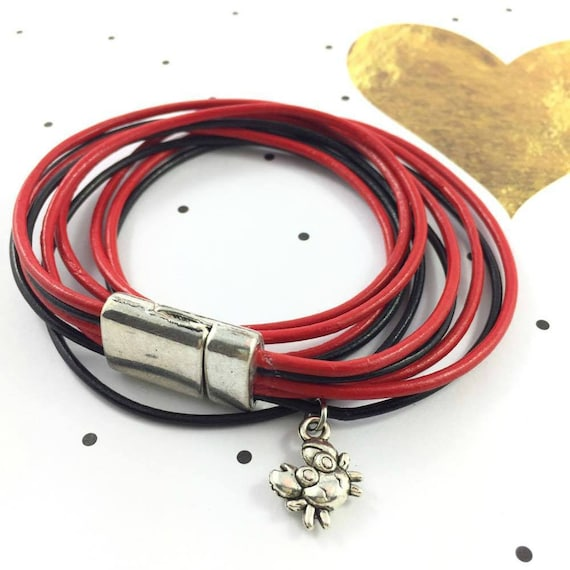 Leather, magnetic, magnet, bracelet, red and black, crab charm, black leather, choker necklace, magnet, les perles rares