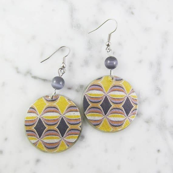 Resin earrings, yellow, gray, beige, geometric, handmade, sold, background, hypoallergenic hook