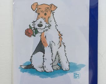 Wire Haired Fox Terrier Rose Card