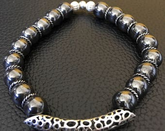 Hematite and 925 Sterling Silver Bracelet