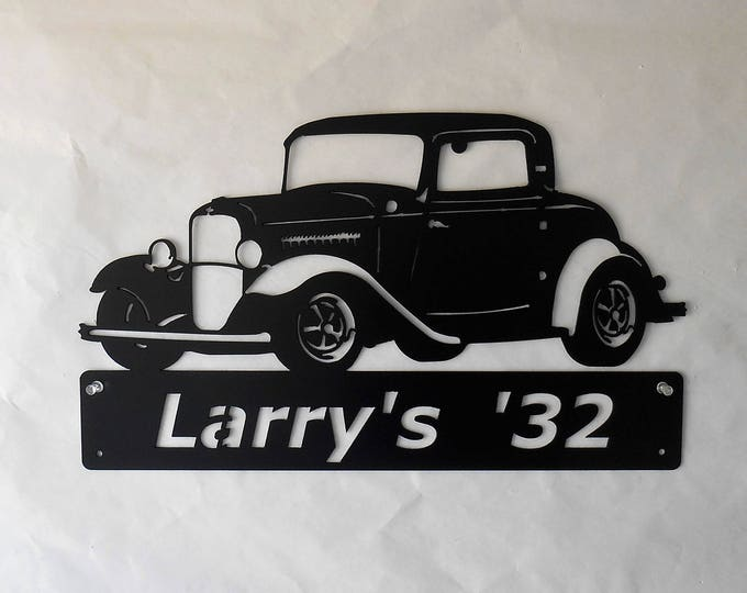 1932 Ford 3 Window Coupe, Man Cave, Classic, Personalized, Hot Rod, Garage Sign, Satin Black, Car Art