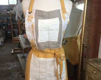 Linen Apron yellow and grey
