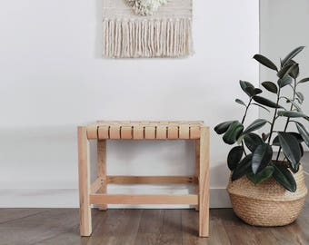 Woven Leather Strap Stool