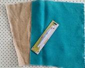 Punch needle backing fabric. Set of 2 natural and turquoise burlap. Rug hooking kit. Hessian canvas. Optional adjustable punch needle.
