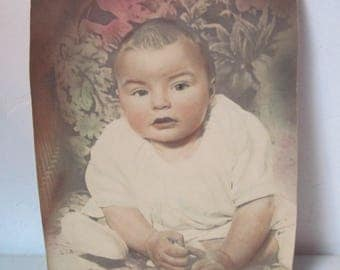 Vintage 1930s 40s tinted Photo of Baby
