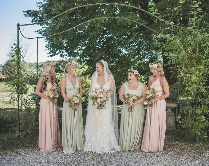Mismatched Bridesmaids~ Southern Blush Satin Long Octopus Convertible Wrap Gown- Mismatched Bridesmaids, Wedding, Maternity, Plus Size