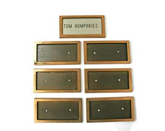 seven vintage bronze name plates door name plates office name tags restoration or