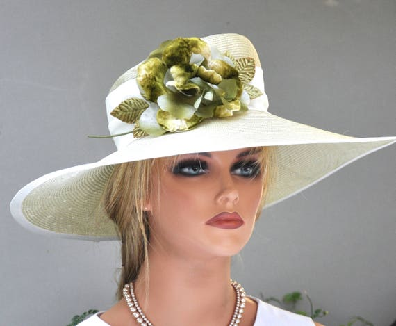 Dressy Wide Brim Hat, Wedding Hat, Couture Millinery, Formal Hat, Mother of Bride Hat, Elegant Hat, Kentucky Derby Hat, Garden Party Hat