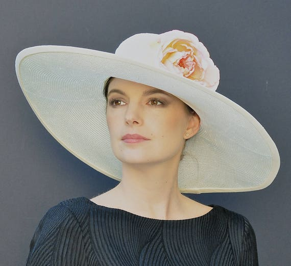 Kentucky Derby Hat, Wide Brim Wedding Hat, Ascot race hat, Church Hat, Wide Brim Women's Summer Hat, Formal Hat, Garden Party Hat, Event hat