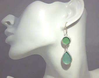 925 Silver One of a Kind Hand Made  Tear Drop 2 Tone Colorful  Roman Glass   Earrings