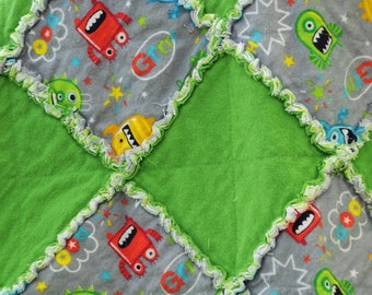 Baby or toddler blanket Monster blanket, cotton, green and gray, chevron, space monster, rag quilt, lovey, flannel blanket