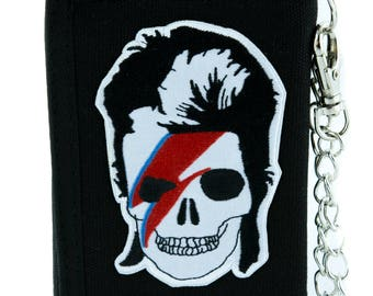 David Bowie Skull Lightining Bolt Tri-fold Wallet w/ Chain Ziggy Stardust - EPJS238-WALLET