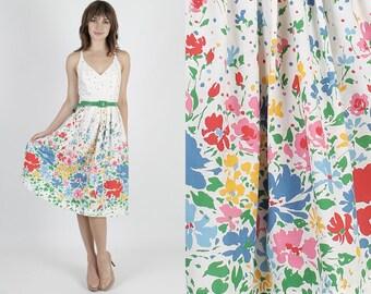 Summer Dress White Dress Sun Dress Party Dress Vintage Dress 80s Dress Bright Floral Dress Boho Dress Festival Dress Midi Mini Dress S