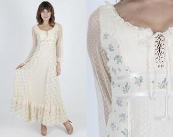 Boho Dress Boho Wedding Dress Lace Dress Summer Dress Vintage 70s Blue Bird Dress Cream Floral Bohemian Hippie Corset Sun Maxi Dress S