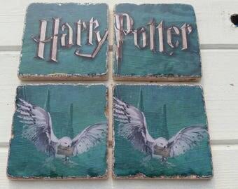 Harry Potter Stone Coaster Set of 4 Tea Coffee Beer Coasters