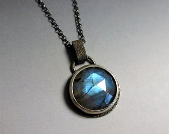 Handmade Sterling Silver Pendant with Blue Rose Cut  Labradorite - Oblivion Jewellery - Designer Jewellery - RT51