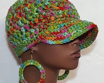 SALE Assorted Colors Chunky Crochet Baseball Cap with Hoop Earrings by Razonda Lee Razondalee Ready to Ship