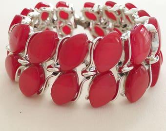 Red Lisner Bracelet, Vintage Jewelry, Lisner Jewelry, Lucite Jewelry, Wide Red Moonglow Bracelet, 60s Vintage Bracelet, Red Lucite Bracelet
