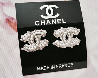 Inspired Chanel Earrings / Cubic Zirconia/ Pearls