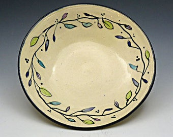 Ceramic Serving Bowl  Hand Painted Colored Leaves