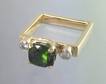 Green Tourmaline Moissanite 14kt yellow gold square band, Engagement band, Anniversary band, One of a kind, Ready to ship, size 7