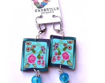 Boucles d'oreilles fleuries turquoise tranche de cane piolymère