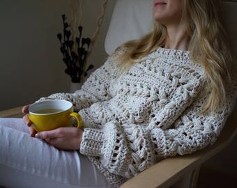 Cabled sweater natural white - Sensum Sweater oversized knit sweater