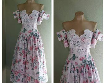 80's Scott McClintock Floral Garden Party, prom, Wedding Dress