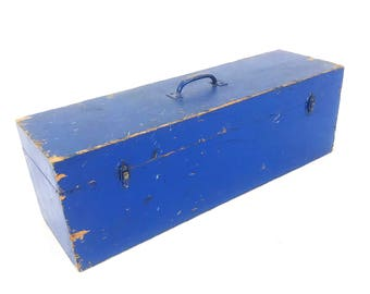 Vintage XL Distressed Long Wood Blue Toolbox