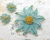 Star like Enamel Flowers Blue   Brooch and Clip earrings  Art Deco Styling