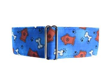 1.5 inch Martingale Collar Boy, Greyhound Collar, Blue Martingale Collar, Blue Dog Collar, Fire Hydrant Dog Collar, Dog Bone Dog Collar