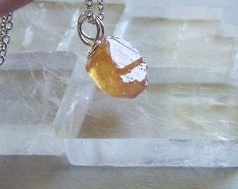 Yellow Orange Sapphire Record Keeper Gemstone Pendant