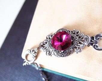 Hilaeira--Swarovski fuchsia rivoli crystal antique silver brass adjustable bracelet