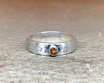 Hammered Citrine Ring
