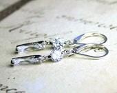 ON SALE Modern CZ Earrings - Petite Crystal Diamond Bar Earrings with Sterling Silver Leverbacks - Minimalist Earrings