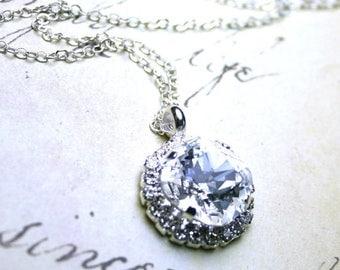 ON SALE Swarovski Crystal Cushion Cut Stone Pendant in Clear Crystal  - Halo Rhinestone Bezel Necklace - Sterling Silver