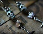 Balance - Día de Muertos - Hand Carved Pearl Skull Long Earrings - Succulent, Cross, Gypsy, Memento Mori, Rocker, Gifts for Her