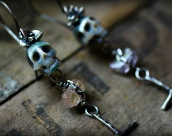 Payment 2 of 3 - Día de Muertos - Hand Carved Pearl Skull Long Earrings - Succulent, Cross, Gypsy, Memento Mori, Rocker, Gifts for Her