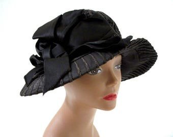 Vintage 1920s Black Cloche Hat - Roaring 20s Black Hat with Large Satin Bow - Wide Brim Flapper Hat by Lorence New York - Vintage 20s Cloche