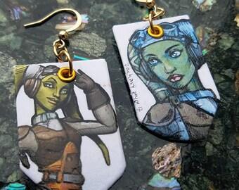Hera Syndulla Star Wars Rebels Twi'lek ace pilot hand-painted earrings
