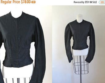 AWAY SALE 20% off victorian 1890s jacket - MOURNING black twill jacket with boning / L