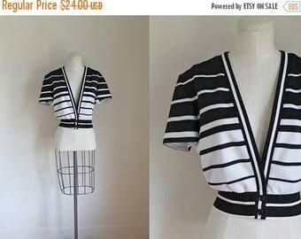 AWAY SALE 20% off vintage 1970s top - SHUTTERS black & white striped bolero jacket / M