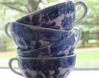 Vintage Blue Willow Child's Tea Cups
