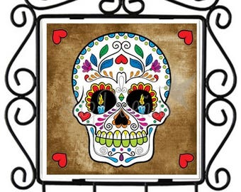 Dia de los Muertos-Sugar Skull - Ceramic Tile Metal Key Holder (SSKHL8) Ready to Ship