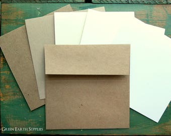 "50 5.25"" Square Folded Cards with 5.5"" Envelopes, Recycled Kraft Brown, Light Brown, White, Natural, Ivory cards, and kraft brown envelopes"