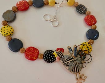 YES it is a Chicken Necklace with Multi-Color Kazuri Beads- One of a Kind - Artisan Made- Wearable Art-Embellished Vintage Brooch