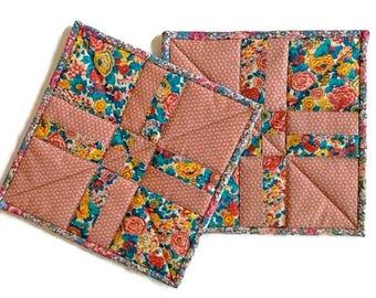 """Handmade Insulated Quilted Pot Holders / Quilted Hot Pads / Quilted Trivets / Quilted Mug Rugs / Quilted Candle Mats – 9"""" x 9"""" - Set of 2"""